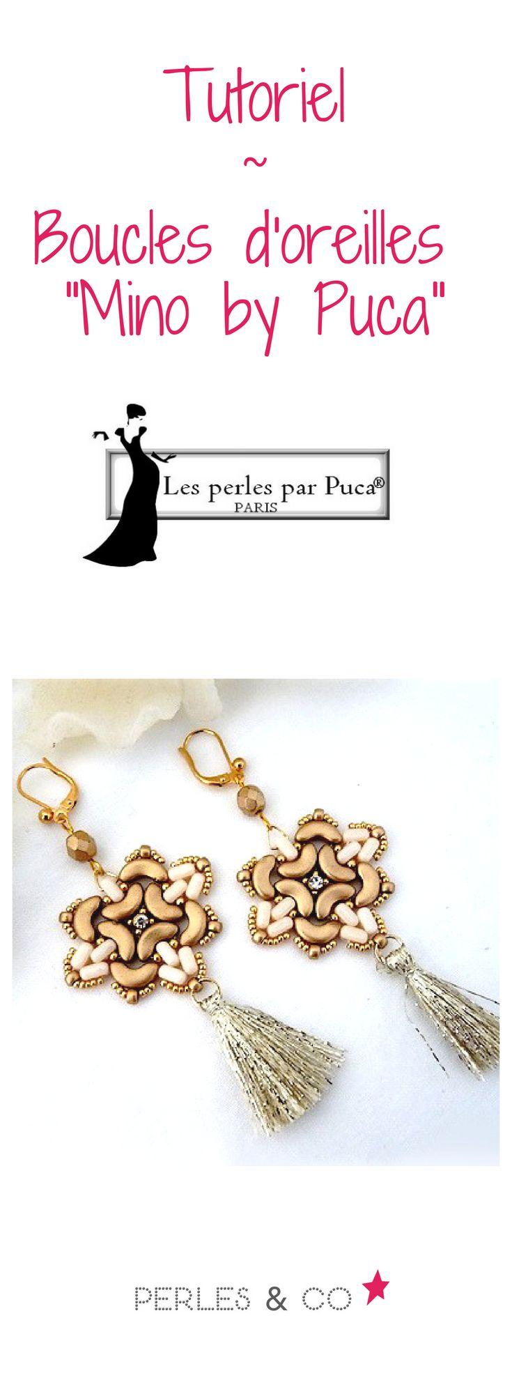 """Après les perles Khéops®, Arcos® et Minos®, la créatrice française Puca sort une nouvelle perle : la perle Ios®. Cette perle est composée de 2 trous dont les faces supérieures sont des rectangles aux angles arrondis. Les côtés non anguleux des perles IOS® leur permettent une parfaite concordance avec le creux des perles Arcos®.   Voici un tutoriel de Puca pour réaliser le motif """"Mino"""" monté en boucles d'oreilles sur Perles and Co"""