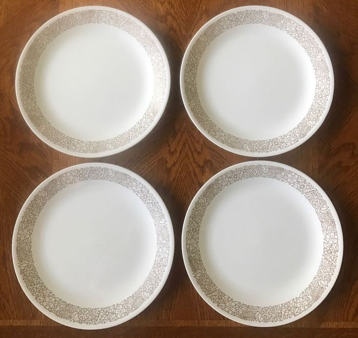 "Corelle WOODLAND BROWN Dinner Plates 10 1/4"" Corning SET OF 4  