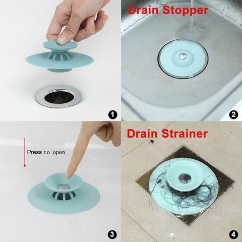 Press Type Anti Clogging Silicone Sink Strainer 3pcs
