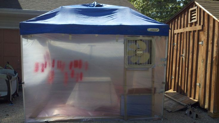 Pop Up Paint Booth >> Canopy Pop Up Tent Turned Spray Booth Garage Inspiration