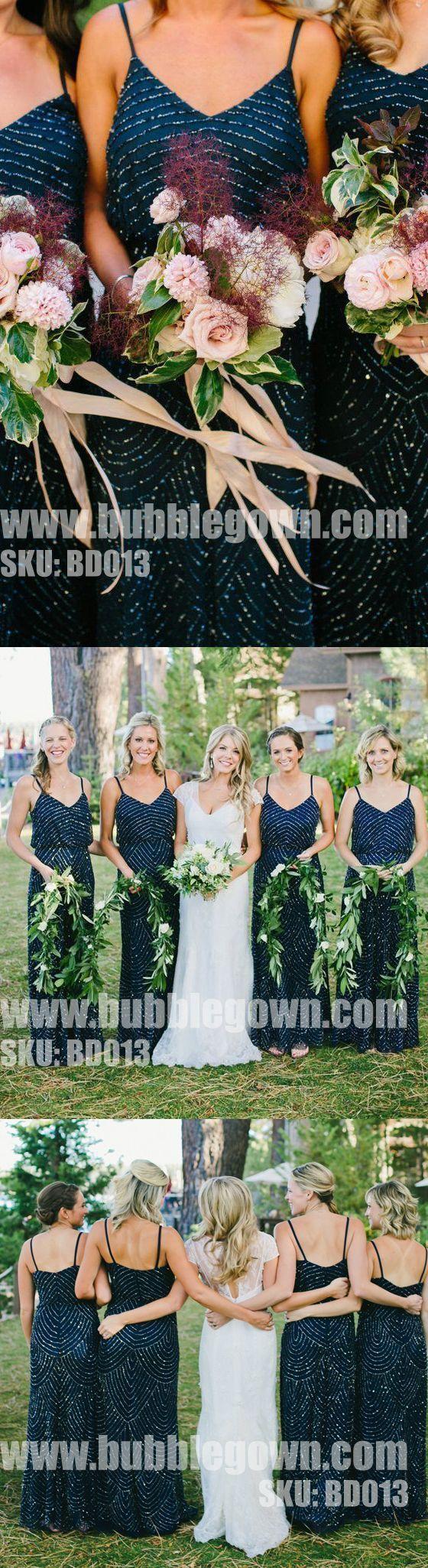 Popular Elegant Spaghetti Strap Formal Cheap Bridesmaid Dresses for Wedding BD013