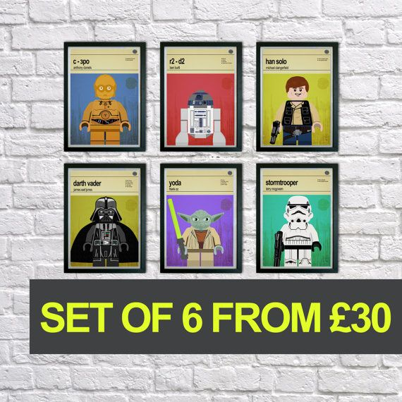 Lego Star Wars prints, Set of 6 prints, Mid Century Modern, Superhero Wall Art, Childrens Bedroom Art, Nursery Pictures, Kids art, Wall art