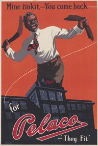 """Poster featuring an Indigenous man wearing a white shirt and brandishing a boomerang. The text reads 'Mine tinkit. You come back for Pelaco. """"They fit.""""'"""