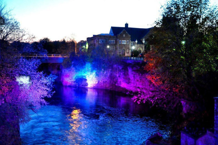 Downtown Fergus ... river lit up at night !