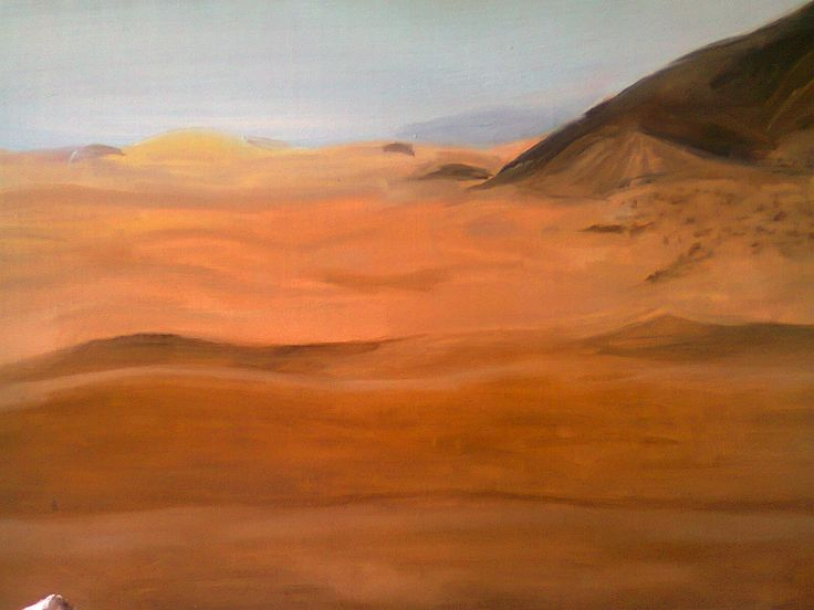 this is in oil painting as most of them are. A desert which I've seen on a magazine, of course giving my own touch to the colors and the landscape.