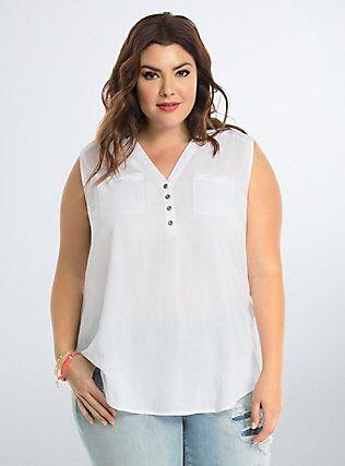 Plus Size Challis Button Tank Top, BRIGHT WHITE