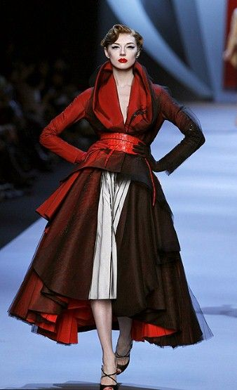 Christian Dior Couture Spring/Summer 2011. LOVE the vintage makeup Galliano chose for this show.