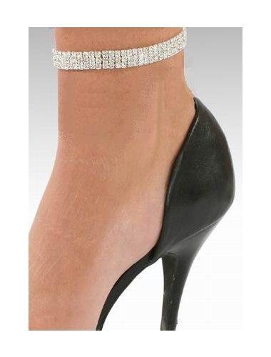 3 Row Crystal Silver PL Stretchy Ankle Bracelet Anklet   Anklet   Jewelery   StringsAndMe