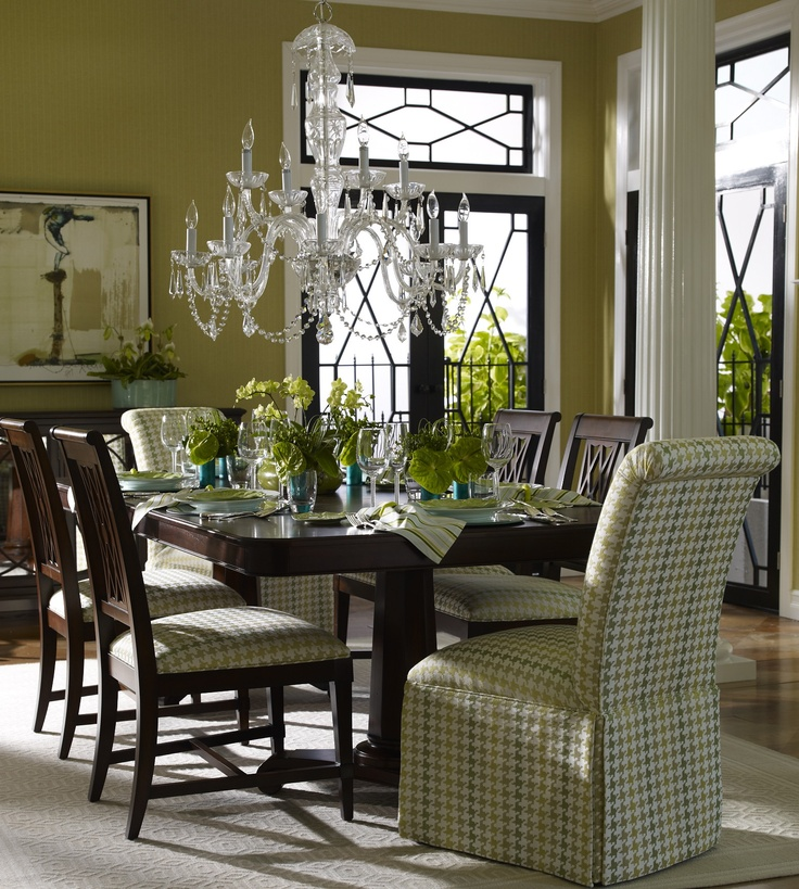 Love Keeping The Rich Woodand Using Color And Fabric To Green Dining RoomElegant