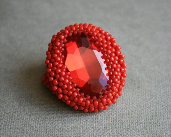 red glass ring ruby glass ring beaded SEED BEAD by koralikowyraj, #redglassring, #rubyglassring, #koralikowyraj