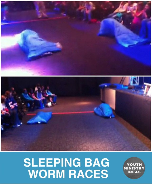 Sleeping bag WORM RACES. Idea by a great site with lots of fun youth games funninja.org. #tribalwarsideas Other Ideas You Might Enjoy: Sleeping Bag Chariot Races Goldfish Races Ping Pong Ball Races Life sized GUESS WHO Carpet Skate Chariot Races Group Games APP Running Tic Tac Toe Relay Sock Wars Earth Ball Steal The Bacon …