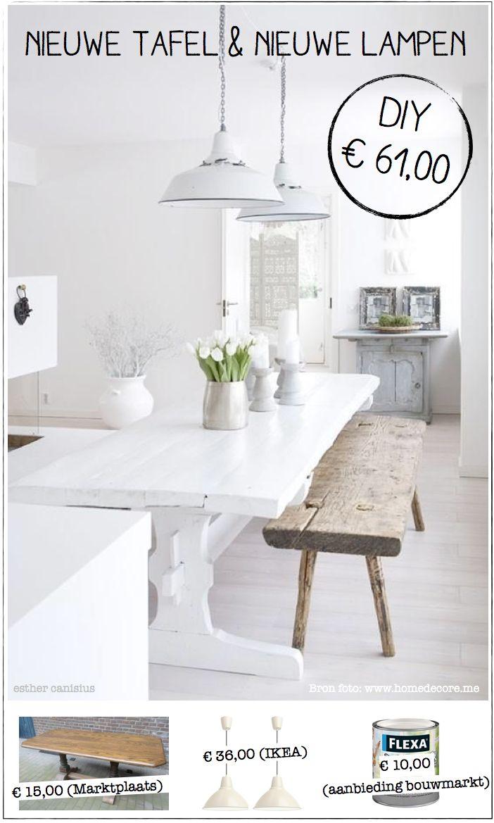 diy eetkamer eettafel lampen verlichting zelfmaken creatief nieuw huis woning verhuizen. Black Bedroom Furniture Sets. Home Design Ideas