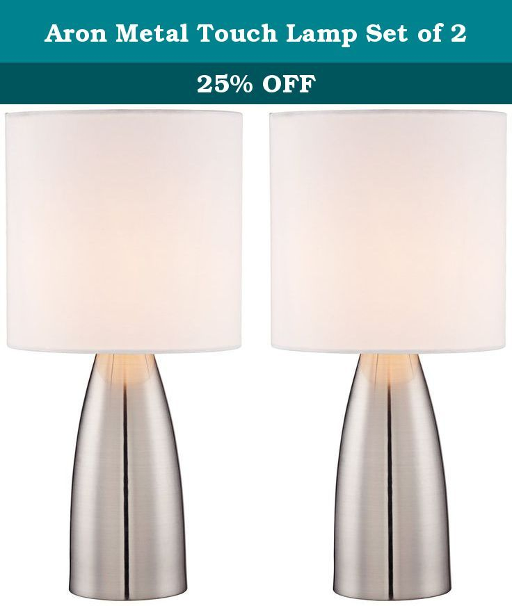 """Aron Metal Touch Lamp Set of 2. Create a clean and streamlined look in your decor with this table lamp set. Both lamps feature a tapered column shape in metal material. Topped with drum lamp shades. A touch switch adds ease of use. A 360 Lighting design. - Touch table lamp set. - Set of 2. - Metal construction. - Drum lamp shades. - Each lamp takes a 60 watt G9 bulb (included). - Each lamp is 14 1/2"""" high. - Shades are 7"""" across the top, 7"""" across the bottom, 7"""" high."""
