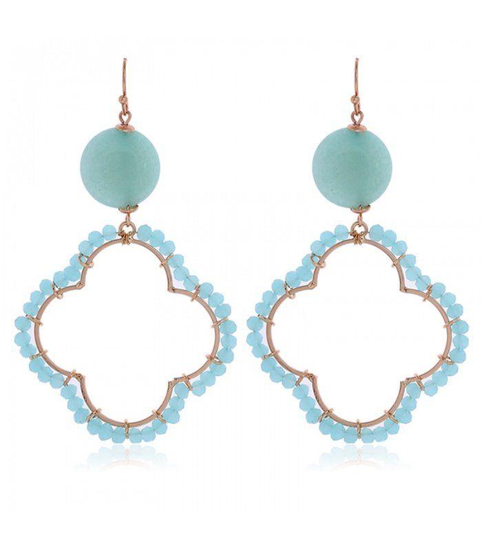 Blauwe oorbellen met kralen en steen|Mooie oorbellen koop je online | Yehwang fashion en sieraden