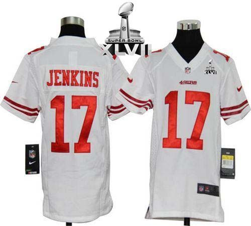 nike 49ers 17 a.j. jenkins white youth super bowl xlvii embroidered nfl elite jersey new san francis