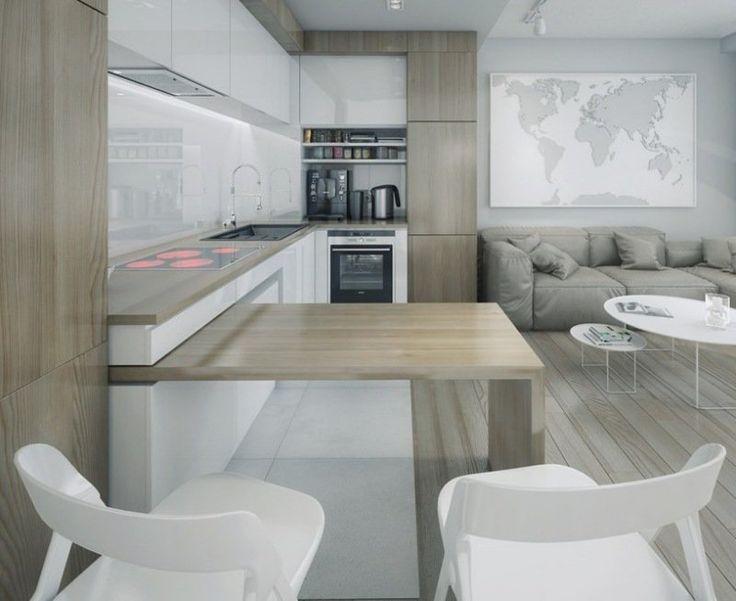 aire ouverte avec sol, armoires, bar et plan de travail cuisine en bois stratifié