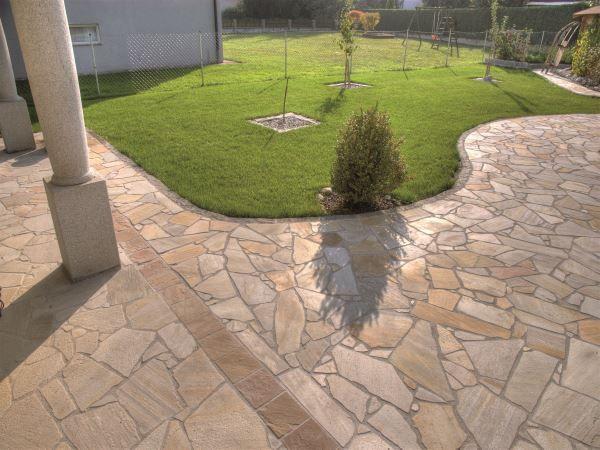 Naturstein Platte Quarzit Gelblich Fur Aussen Steinterrassen Garten Ideen Hinterhof Garten