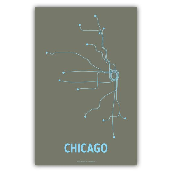 Chicago Lineposter transit map