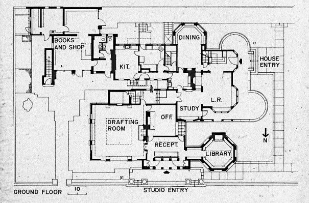 Current first floor plan house frank lloyd wright home for Frank lloyd wright style house plans