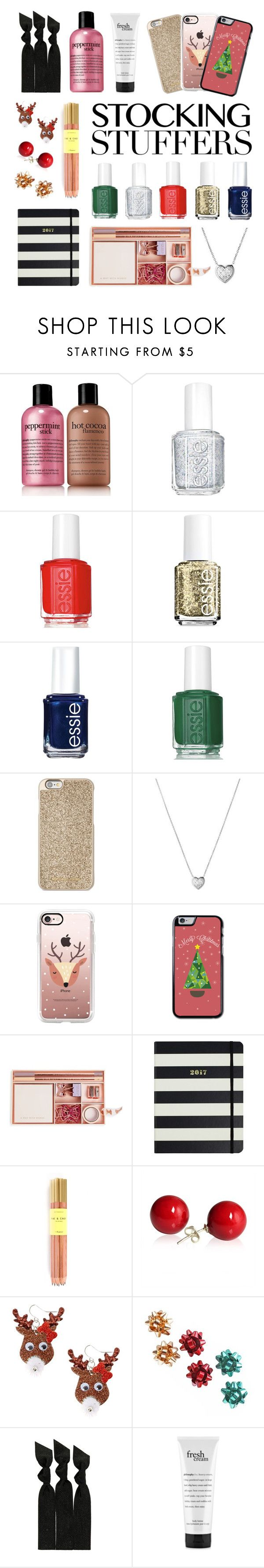 """""""Gift Guide: Stocking Stuffers"""" by space-unicorns-are-bae ❤ liked on Polyvore featuring philosophy, Essie, Michael Kors, Links of London, Casetify, Ted Baker, Kate Spade, Fine & Candy, claire's and Emi-Jay"""