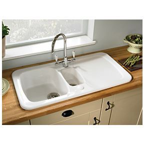 Aquitaine ceramic reversible 1 189 bowl kitchen sink with drainer