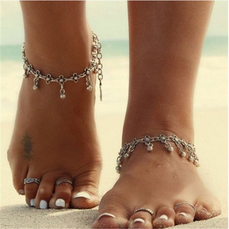 Fashion Vintage Antique Silver Plated Bell Bead Anklets Beach Barefoot Sandals Foot Jewelry Anklets For Women #barefoot #fun #anklet