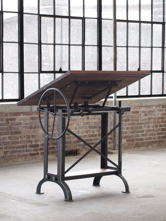 Handmade in Baltimore MD. Minimum 9 week lead time.    Here we have a large stand up drafting desk with a stunning walnut top. This is a very