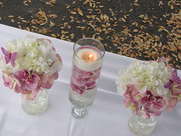 Hydrangea Flower Arrangements | Submerged Orchid and Hydrangea Arrangment Trio