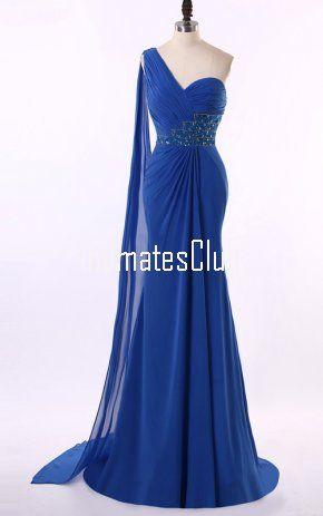 Chiffon Royal Blue Quince Dresses