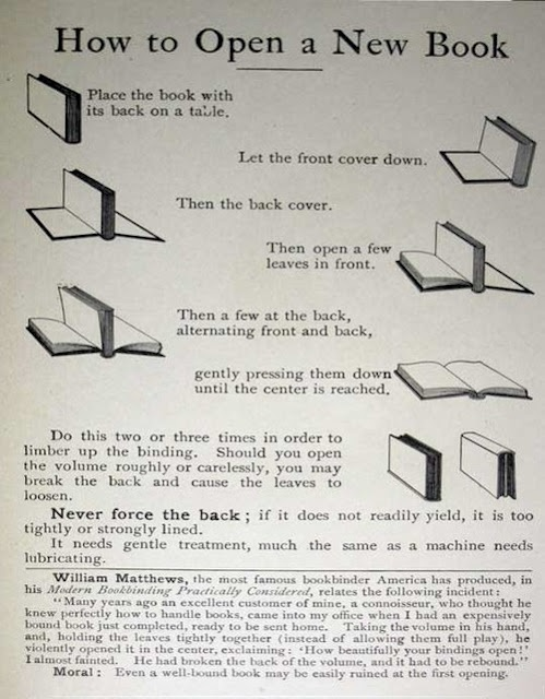 How to open a new book- thanks yo Dr. Quinn, I cringed when I saw this!  Don't people know how to make books last!