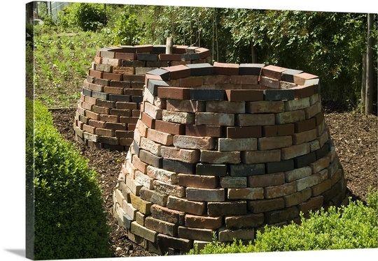 Victorian-style brick composting bins