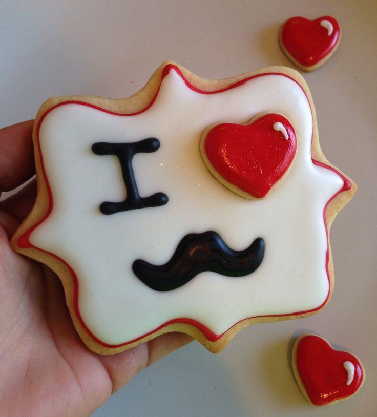 I Love(Heart) Mustaches or Stache sugar cookies for Valentines Day..