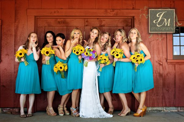 @CharlotteDarling, I'm pinning this for you! (A friend just chose this same venue for her wedding, and when I saw the shot of teal bridesmaid dresses, yellow flowers, and a red barn, it made me think of the color scheme you've been pinning!)