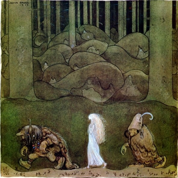 John Bauer: Illustration for The Changeling by Helena Nyblom in the anthology Among pixies and trolls, 1913.