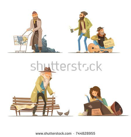 Stock Vector: Homeless people compositions with trash elderly person woman at street men working for food isolated vector illustration