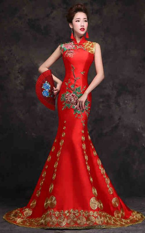 Asian inspired corset closure appliqued embroidered sleeveless trailing gown modern red satin Chinese bridal floral wedding dress L329-498-1 copy