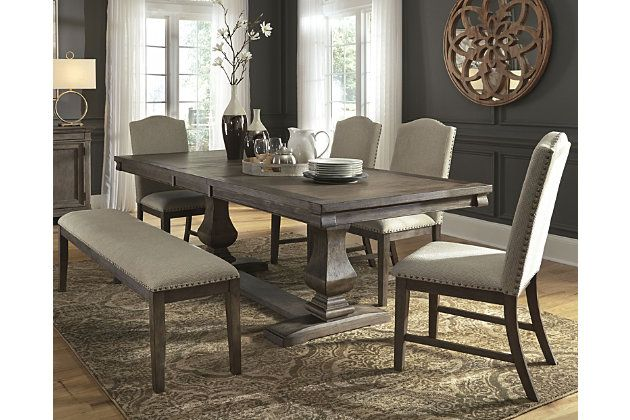 Johnelle Dining Table And 4 Chairs And Bench Ashley Furniture Homestore Dining Table Dining Room Sets Furniture Ashley furniture dining room chairs