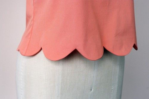 scalloped hem. an alternative method to the no sew. I think this just turns out with a more finished look