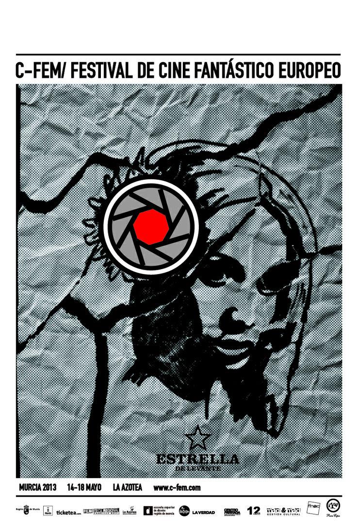 """Cartel realizado para el Festival de Cine Fantástico Europeo celebrado en Murcia """"C-FEM.  Propuesta: Realizar un Leitmotiv.  Patrocinador principal, Estrella de Levante."""