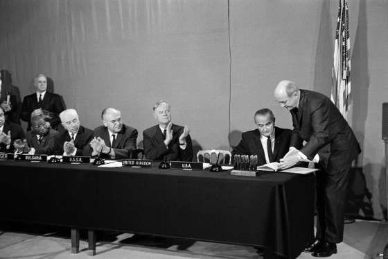 October 10, 1967: OUTER SPACE TREATY GOES INTO EFFECT  The Outer Space Treaty, prohibiting the placing of weapons of mass destruction on the moon or elsewhere in space, enters into force.