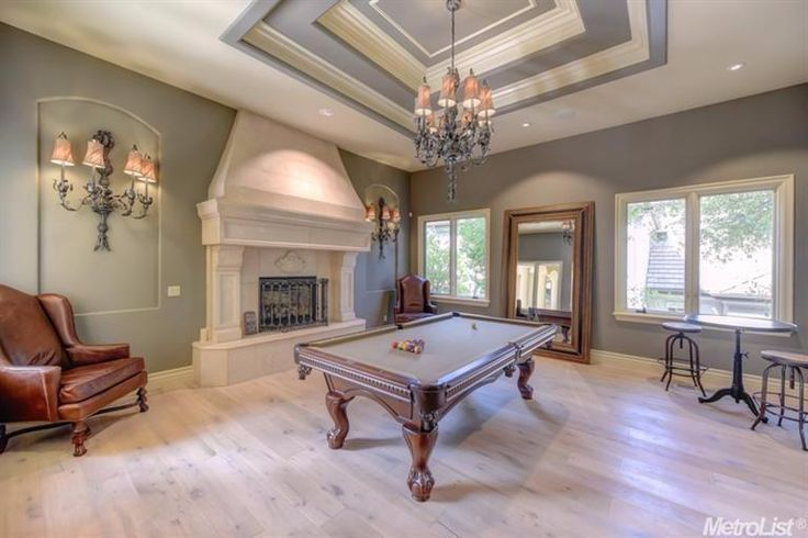 C.b. Home Design Part - 17: Billiard Room With Fireplace