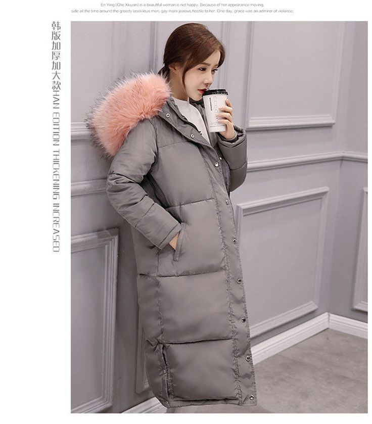 Fashion Womens Parka Thicken Hooded Overcoat Thicken Over Long Coat Jacket