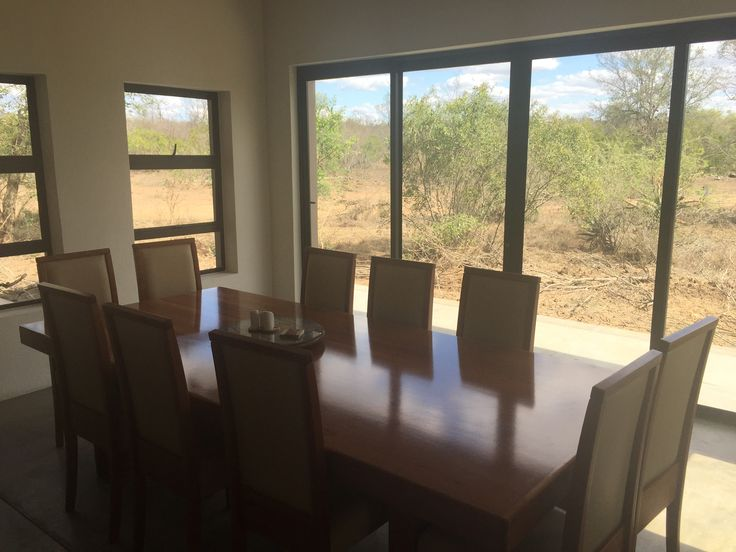 10 seater dining table with amazing view of the Kruger bushveld