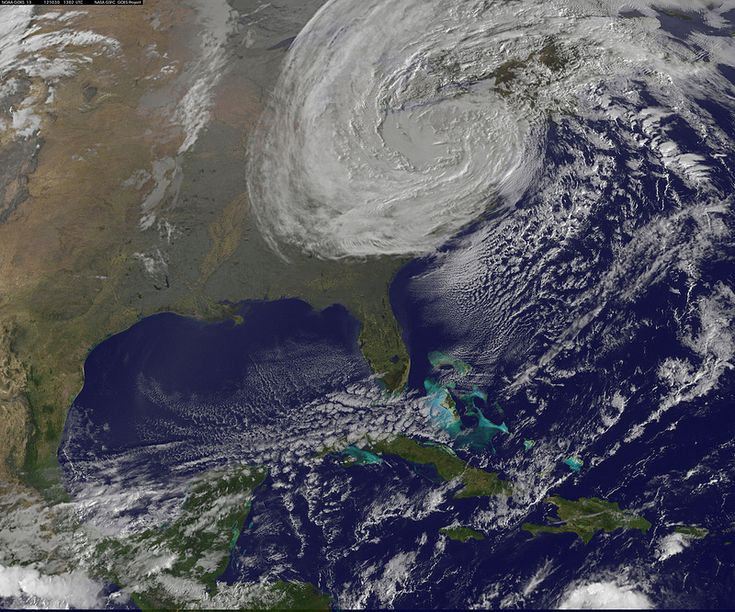 NOAA GOES-13 image of Sandy at 6:02 a.m. EDT Tuesday (Oct. 30).<br />