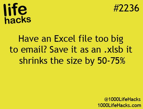 Shrink an Excel file before emailing it.