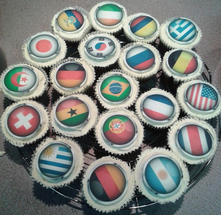World Cup Flag Cup Cakes
