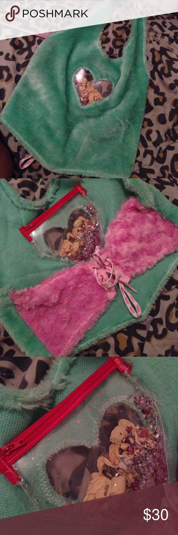 Cyber Angels halter top Handmade and One of a kind!! fuzzy cyber angels halter top w a pouch u can put anything you want in, rn there are rose petals and glitter in it. its so hard for me to put this up for sale cause its sooo cute but i don't think it looks flattering on me. Cyber Angels Tops Crop Tops