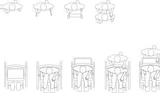 車椅子を使用する人物のCADデータ