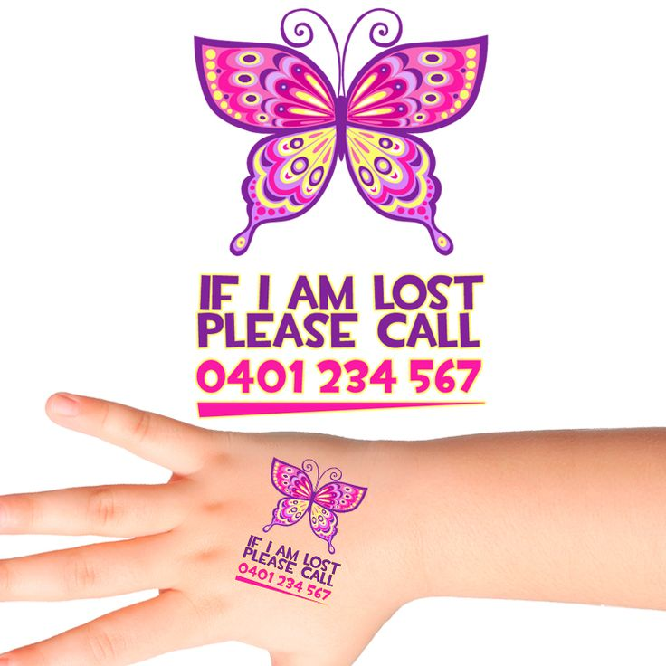 Butterfly Personalised Safety Tattoos #505 (16 pack)