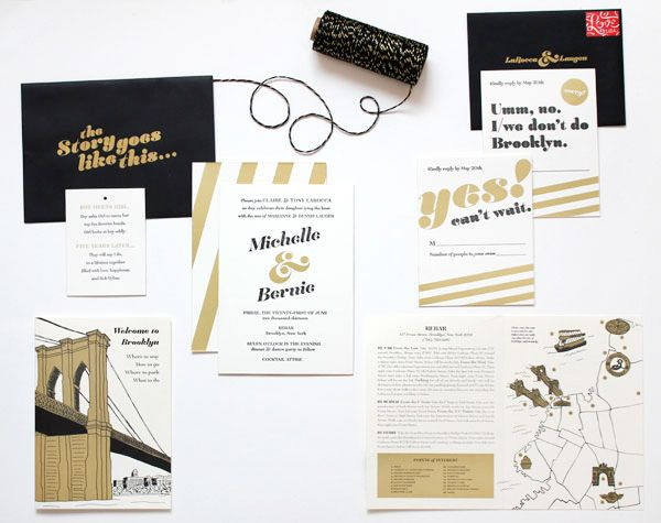 Black and Gold Brooklyn Wedding Invitations via @Oh So Beautiful Paper: http://ohsobeautifulpaper.com/2014/01/michelle-bernies-black-and-gold-brooklyn-wedding-invitations/ | Design + Photo: Meesch | Foil Stamping: Mama's Sauce | Twine: Knot + Bow #brooklyn #wedding